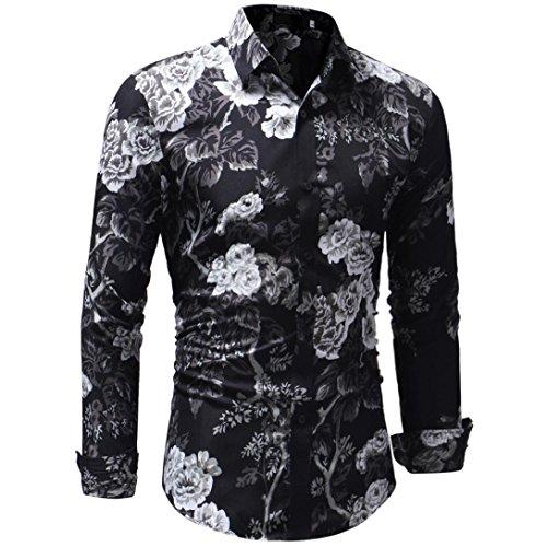 ZIYOU Herbst Winter Streetwear Langarm T Shirt/Herren Floral Drucken Hemden/Freizeit Hemd Tops(2XL,Schwarz)