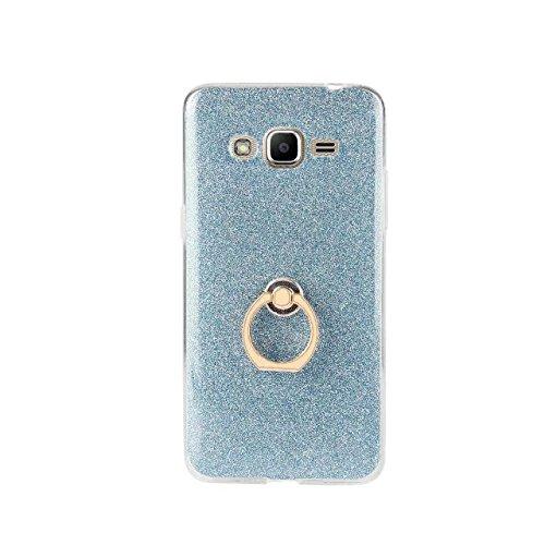 Luxus Bling Sparkle Style Case, Soft TPU [Silikon] Flexible Glitter Rückseitige Abdeckung mit Fingerring Stand für Samsung Galaxy J2 Prime ( Color : Pink ) Blue