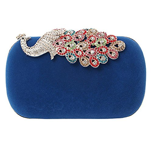 Peacock-stoff-handtaschen (Frauen Strass Peacock Velvet Party Clutch Abendtaschen. (16 X 9.2 Cm) . Blue . One Size)