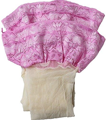 Unbekannt Halterlose Strümpfe 20 den leicht glänzend versch. Spitzenabschlüsse mit Silikon Farben alle Größen (XXL, creme-rosa)