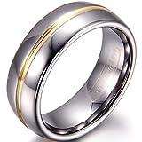 JewelryWe Schmuck 8mm Breite Wolframcarbid Herren-Ring Gold Rille in der Mitte Partnerringe Hochzeit Engagement Band Größe 52 bis 74
