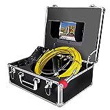 Cámara Inspección de Tuberías 30m con Función DVR Profesional para Reparador Drenaje alcantarilla endoscopio Industrial Impermeable IP68 inspección de Video con Monitor LCD de 7 Pulgadas Grabador