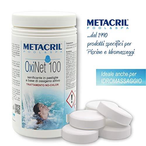 Metacril Ossigeno Attivo in pastiglie da 100gr - OXINET 100 kg.1 - Ideale per Piscina o Idromassaggio (Teuco,Jacuzzi,Dimhora,Intex,Bestway,ECC.) Spedizione IMMEDIATA