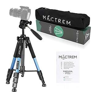 MACTREM PT55 55-pollici Alluminio Camera Treppiede per Videocamera con testina e borsetta per trasporto per DSLR Nikon Canon Sony DV Video (Blue)