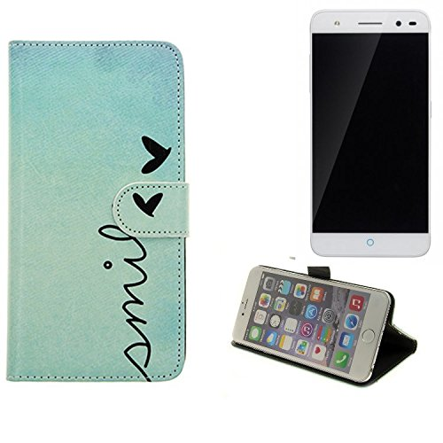 360° Funda Smartphone para ZTE Blade V7 Lite, 'smile' | Wallet case flip cover caja bolsa Caso Monedero BookStyle - K-S-Trade (TM)