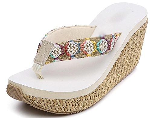 Slip sandales de plage et pantoufles été Mme pente sandales à talons hauts avec une croûte épaisse plat beige