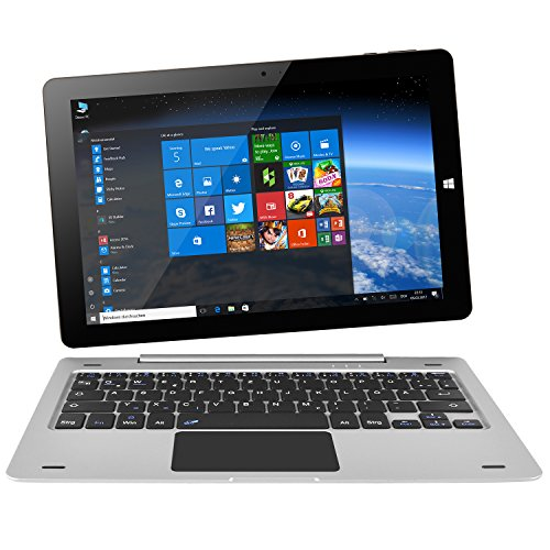 NINETEC Ultratab 10 Pro Convertible Tablet PC 2in1 Windows 10 + Android Ultradünnes Vollaluminium Gehäuse Silber