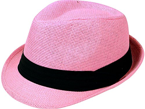 Simplicity Men/Women's Summer Vintage Straw Fedora Hat