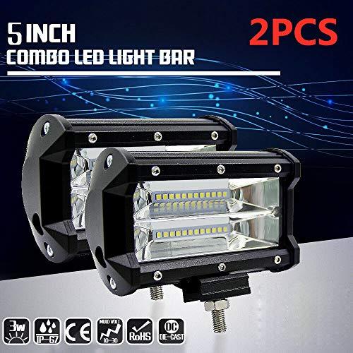 Ocamo - 2 focos de luz LED de Trabajo de 144W de 5 Pulgadas para conducción Fuera de Carretera, luz antiniebla para camión, Barco