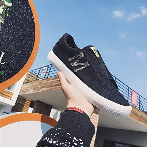 Jugend-skateboard-schuhe (LOVDRAM Schuhe Herren Frühlings-Jugend-Skateboard-Schuhe Mode-Faule Schuhe Breathable Segeltuch-Schuhe Retro- Männer Schuhe EIN Pedal, Schwarzweiss, 44)