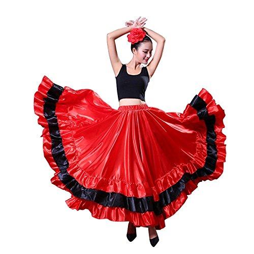 Kostüm Flamenco Traditionelle - Dreamowl Damen Red Spanien Flaco Tanz-Rock-Schwingen-Lange-Kostüm Bauchtanz Röcke 180-grad- rot