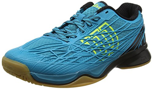 Wilson Herren Tennisschuhe Kaos Indoor, Offensives Spiel, Indoor, Synthetik, Türkis/Schwarz/Gelb (Enamel Blue/Black/Safety Yellow), Größe: 41 1/3