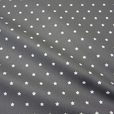 Stoff Meterware wasserdicht Sterne anthrazit grau Wachstuch Tischdecke abwaschbar