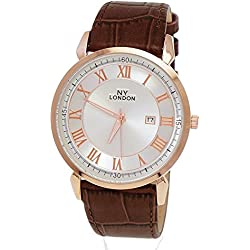 NY London Designer Slim Rose Gold Brown Leather Mens Watch with date, Super Flat + Watch Box