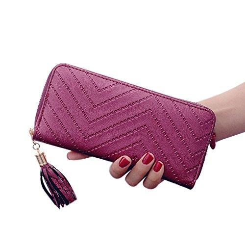 Fuibo Frauen Dame Leder Karten Halter lange Mappen Kupplungs Troddel Handtaschen Geldbeutel (Rotwein) (Abend Handtasche Perlen Tasche Zubehör)
