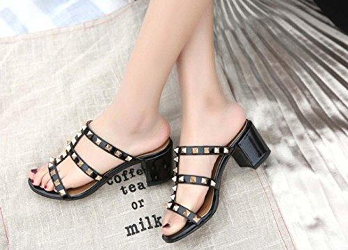 Scarpe da donna in tacco alto Ribattini Pantofole mulino in cuoio tacco alto per le donne Black