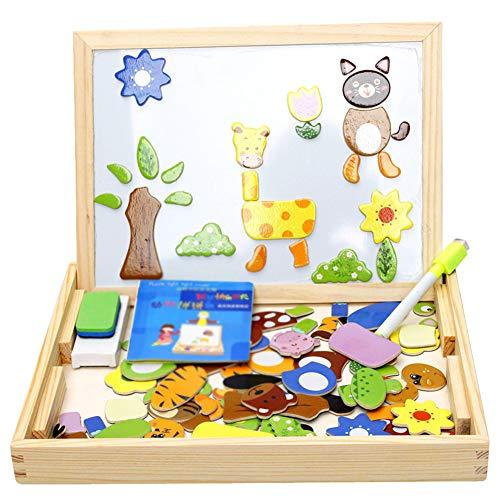 AIUIN Pädagogisches Holzspielzeug Baby Lernspielzeug Geschenk für Kinder Jungen Mädchen Magnet Kinderspielzeug Doppelseitige Hölzerne Magnettafel Helle Farbenformen für Kinder 3 4 5 Jahre