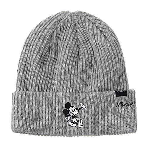 WITHMOONS Strickmützen Seemannsmütze Disney Mickey Mouse Ribbed Beanie Hat Slouchy CR5840 (Grey) (Beanie Mickey Disney Baby)