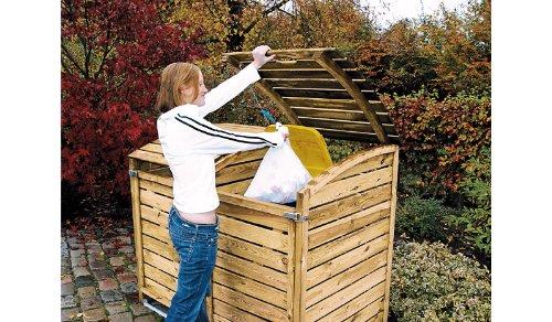Mülltonnenbox aus Holz, Mülltonnenverkleidung - zweifach (für 2 Tonnen bis 240 Liter), wetterfest und somit ideal für draußen / Outdoor geeignet