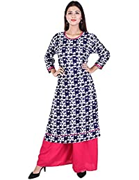 WHIY Printed Cotton Round Neck Kurti With Pink Colour Palazzo