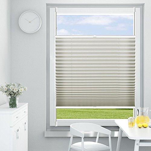 OUBO Plissee Klemmfix 80 x 140 cm (B x H) Grau, Jalousie ohne Bohren Sich- und Sonnenschutz Faltrollo