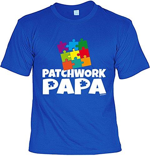 Vatertag Papa T-Shirt Geschenk Geburtstag Weihnachten Vatertagsgeschenk Patchwork Papa Royalblau