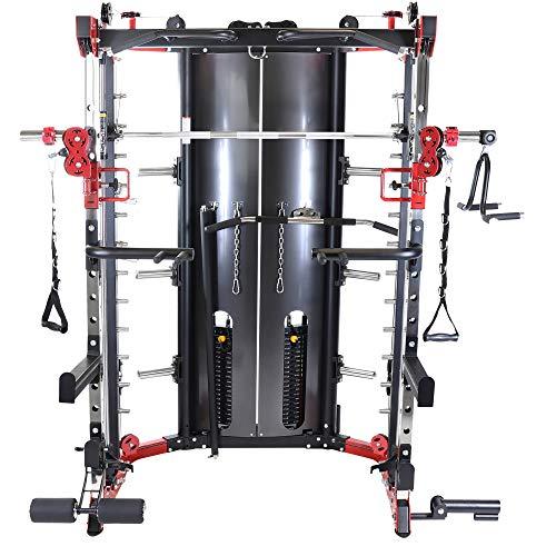 GORILLA SPORTS® Kraftstation mit Klimmzugstange, Langhantel, Kabelzug und Gewichten - Powerrack Schwarz bis 150 kg belastbar