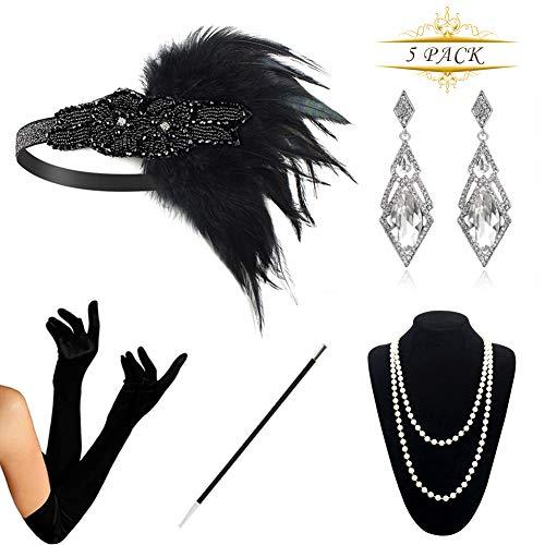 hre Zubehör Set Flapper Kostüm Accessoires für Damen 20s Gatsby Jahre Stirnband Kopfschmuck Perlen Halskette Handschuhe Zigarettenspitze (Black6), Black D,  ()