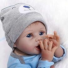 Bebé Recién Nacido de Silicona Reborn Baby Doll Realistica 55 cm Vestimenta Luz Azul