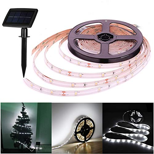Solar LED Stripes, 5m Stripe außen, Lichterkette LED,Streifen,LED Leiste,Wasserdicht LED Lichtleiste,LED Bänder,2 Modi,Flexibel,Schneidbar,Selbstklebend,für Haus Deck Veranda Pool Wand Dekoration-weiß