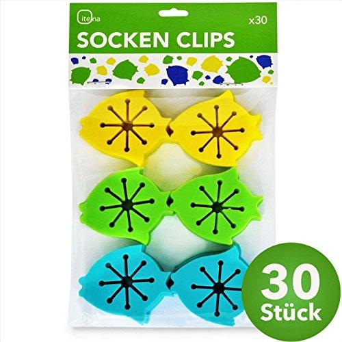 itena Socken-Klammern für Waschmaschine und Trockner (30 Stück) | Sockenclips mit Leichter Anbringung | Sockensortierer aus Silikon - E-geld-sorter