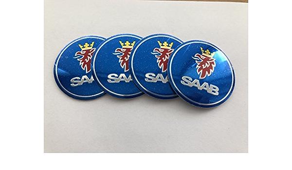 Autopartsml 4 X 56mm Alu Emblem Felgen Aufkleber Logo Nabendeckel Nabenkappen Saab Auto