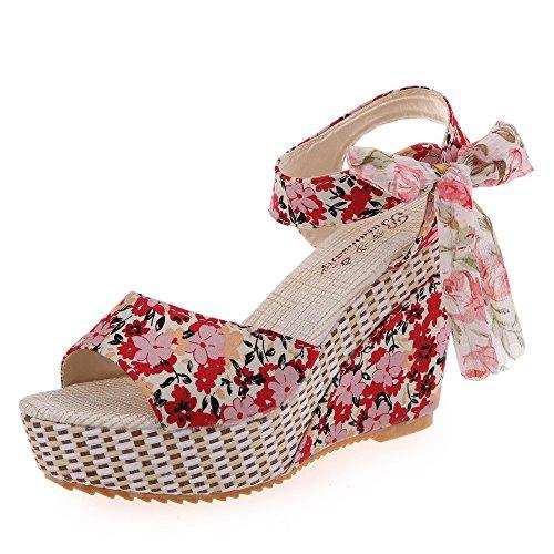 Makefortune-Damenschuhe Frauen Schuhe 2019 Sommer Neue Blumen süße Schnalle Keil Sandalen Open Toe Floral 8cm hochhackigen Plateauschuh Wedges Floral Open Toe