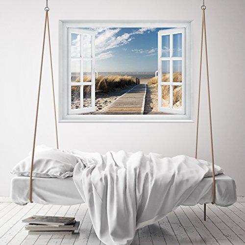 FOTOTAPETE ,,Beach Window 2T1′ 127cm x 183cm Fenster Ausblick Meer Strand Dünen Ozean ocean way Tapete inklusiv Kleister - 7