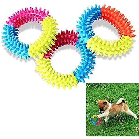 Vultera (TM) Resistencia a la mordedura de goma para mascotas cachorro de perro Juguetes Mascotas Mixed color de los dientes repujado anillo spinose Chew Formaci¨®n juguetes para perros mascotas