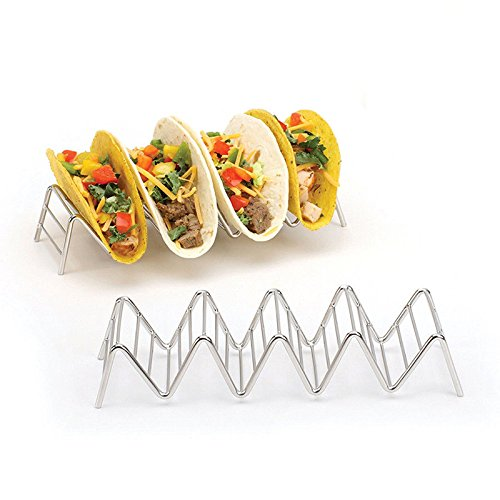 Taco-Halter - Edelstahl Taco-Regal für Tacos, Sandwiches, Brot, Hot Dog Pfannkuchen, hält 1 oder 2 oder 3 oder 4 harte oder weiche Taco-Muscheln, edelstahl, Four Grids, 21.5 * 6.5 * 4.2cm