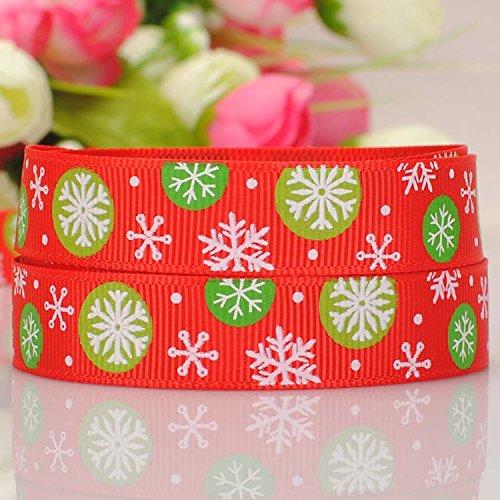 """Generic 10 yardas 5/8 """" 16 mm rojo de la navidad del copo de nieve impreso grosgrain ribbon enví o gratis"""