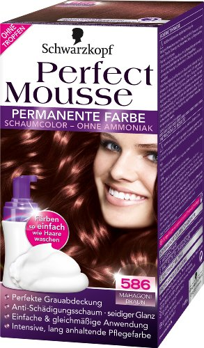 schwarzkopf perfect mousse 586 mahagoni braun permanente farbe stufe 3 schaumcolor ohne - Coloration Schwarzkopf
