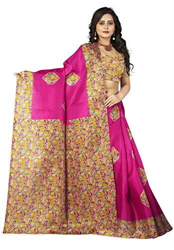 Jaanvi Fashion Women\'s Khadi Silk Kalamkari Figure Printed Saree (Pink)