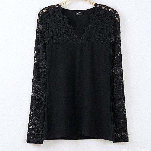 DJT Damen Langarmshirt Bluse V-Ausschnitt Kragen mit Floraler Spitze Schwarz