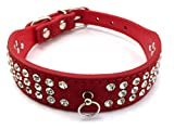 Scarlet pet | Hundehalsband »Glamour« mit modischem Besatz aus funkelndem Strass; Diverse Farben und Größen (M: 38 cm, Rot)