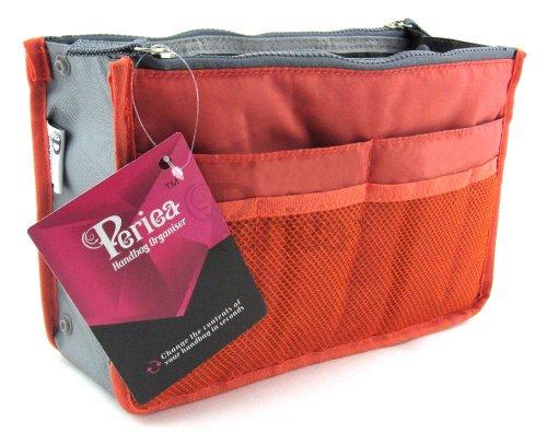 Periea - Organiseur de sac à main, 12 Compartiments - Chelsy (Orange, Petit: H15 x L22 x P2-10cm)