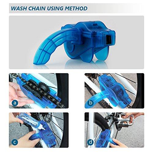 Fahrrad Kettenreinigungsgerät, Fahrrad Kettenreiniger | Kettenreinigung | Zahnkranz Cleaner | Bicycle Chain Cleaner, Schnelles sauberes Werkzeug für Alle Arten von Fahrrad Kettenreinigung (blau) - 3