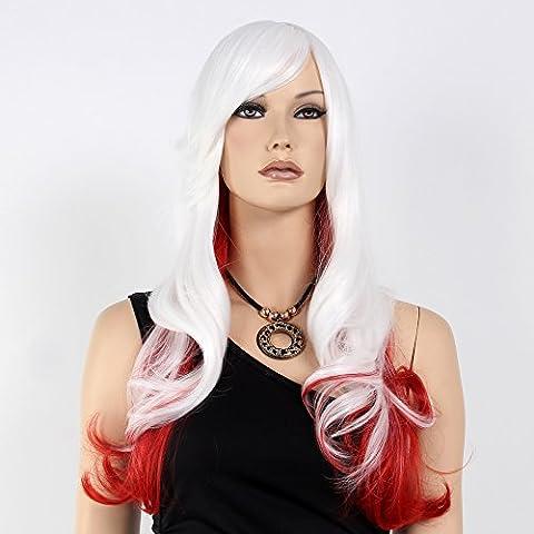 Stfantasy des Perruques pour femme Long Naturel vague de chaleur Conviviale Cheveux synthétiques 63,5cm 230g avec frange Perruque Peluca gratuit Cheveux Net + Clips Blanc et Rouge mixte