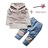 Sunenjoy Enfants Tout-petits Bébé Garçon Filles 2 PCs Set Costumes Capuche Rayé Shirt Tops + Pantalons Longs Vêtements Ensemble (0-12 mois, gris)