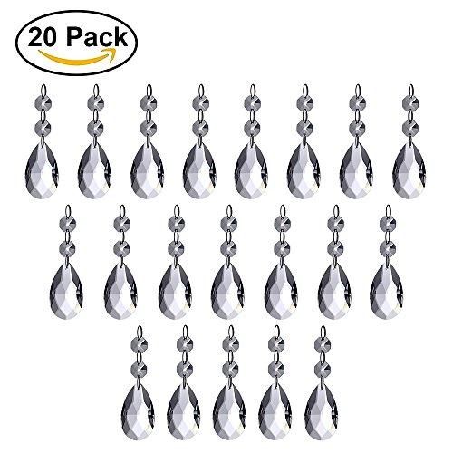 HTIANC 20 Piezas las Lamparas de Lagrimas de la Malla del Cristal de 38mm Gotas de Agua, Cuentas, Para el Hogar, la Oficina, la Sala de Estar, Hoteles, Etc.