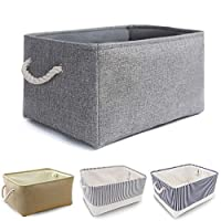 Washable Collapsible Thickened Canvas Fabric Storage Box with Handles
