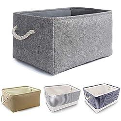 MANGATA Panier de rangement en tissu, Boîte de rangement pliable en toile épaissie avec poignées de corde pour vêtements, jouets (lavable, grand, gris)