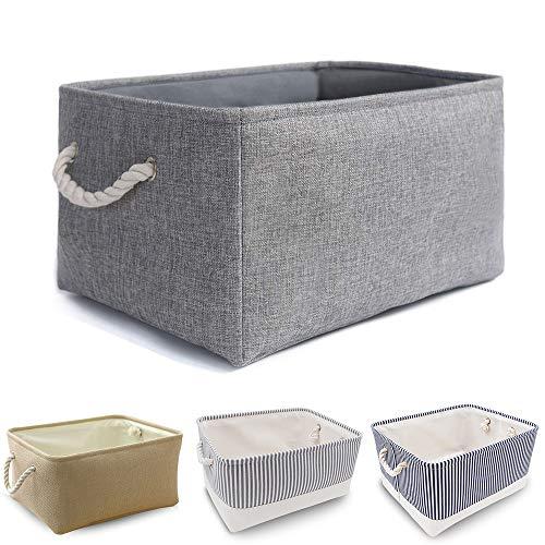Mangata Aufbewahrungsbox aus Stoff, Faltbarer, dickwandiger Aufbewahrungskorb aus Leinen mit Seilgriffen für Kleidung, Spielzeug (Waschbar, Large, Grau)