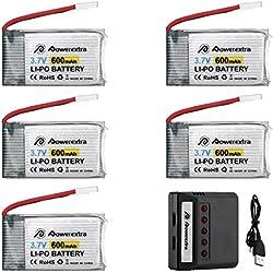Powerextra Syma x5c Batería 5Pcs 3.7V 600mAh LiPO y Cargador para Syma X5 X 5C X5SW X5SC-1 CX-3W CX-31 M68 M68R UDI U45